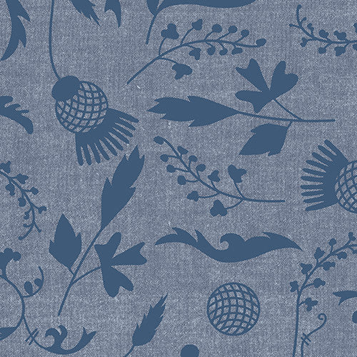 Ex-Libris by Alison Glass / Botany Chambray Navy (7866 LB)