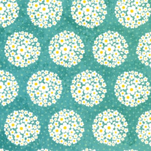 Crazy for Daisies Collection - Pom Pom Dot (teal)