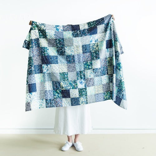 Check & Stripe with Liberty Patchwork Blanket Kit (Blue)