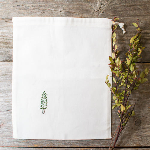 Embroidered Drawstring Bag - A