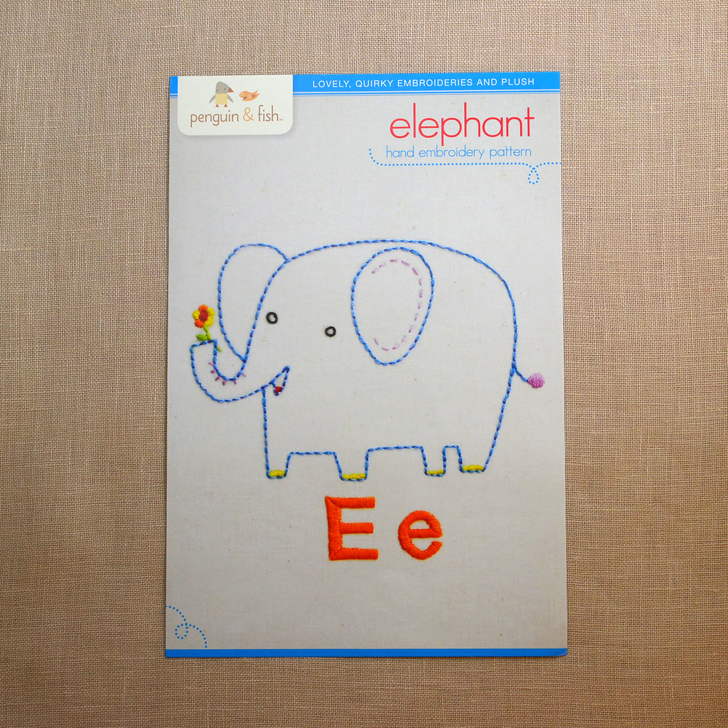 E - Elephant Embroidery Pattern