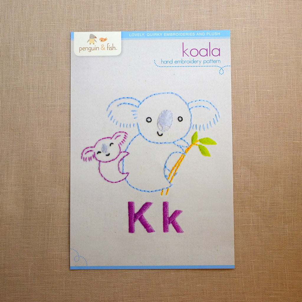 K - Koala Embroidery Pattern