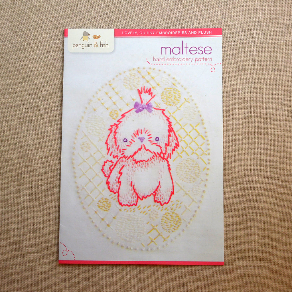 Maltese Puppy Embroidery Pattern