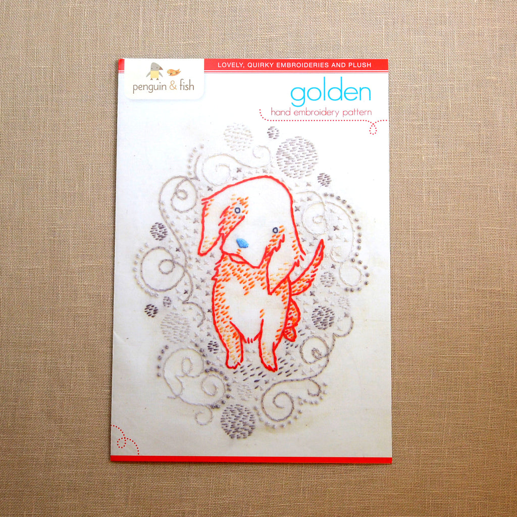 Golden Puppy Embroidery Pattern