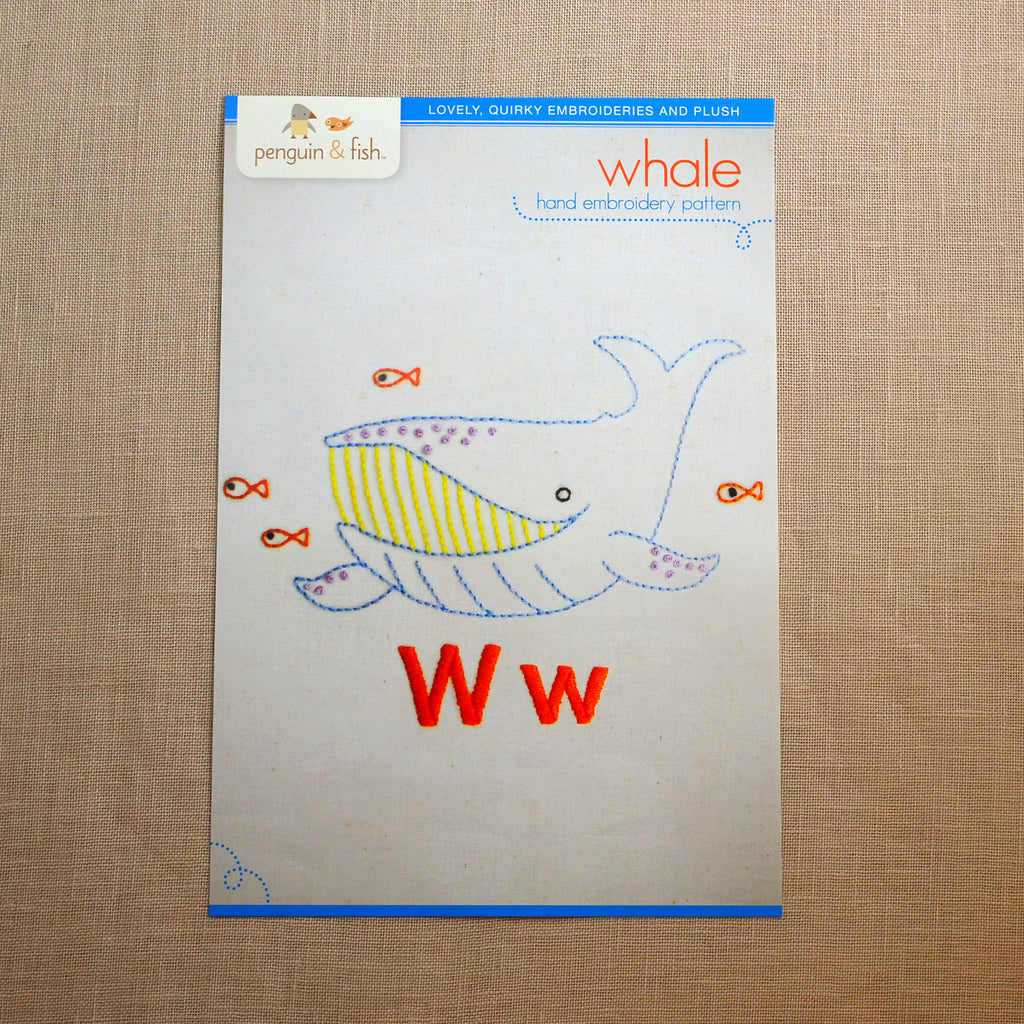W - Whale Embroidery Pattern