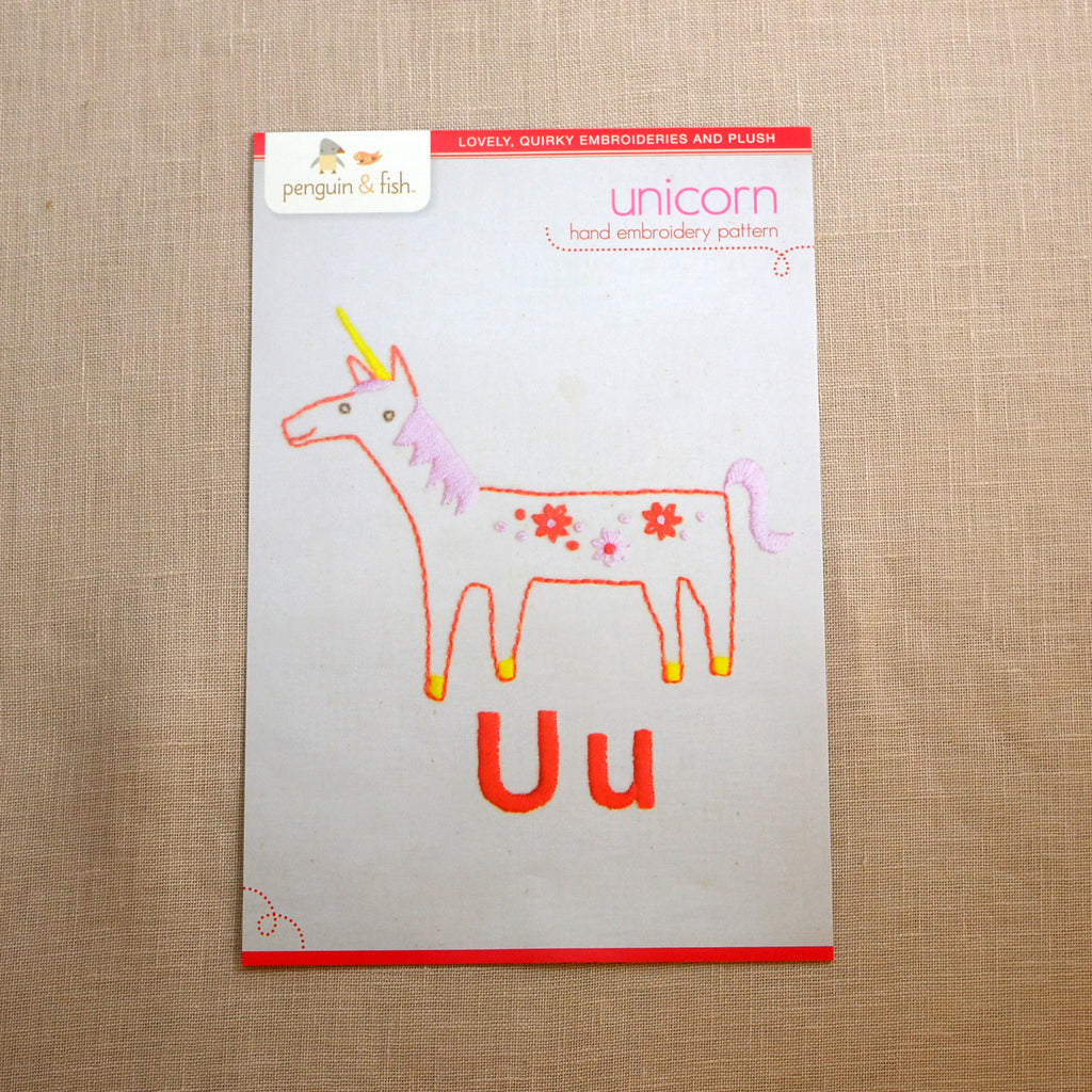 U - Unicorn Embroidery Pattern
