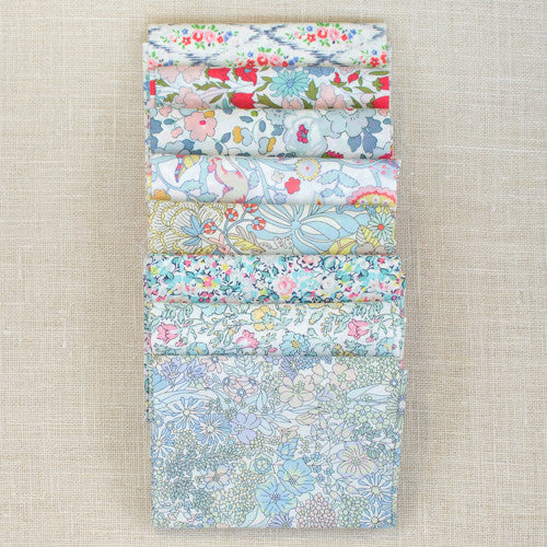 Liberty of London Fat Quarter Bundle - Coral/Blue - 7 pcs
