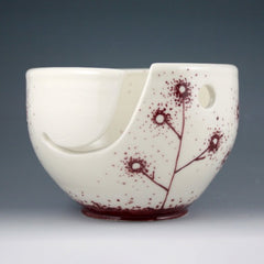Yarn Bowl - Burgundy Linework