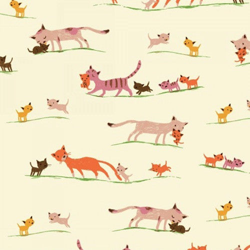 Tiger Lily Collection - Marching Cats (cream)