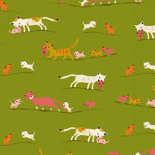 Tiger Lily Collection - Marching Cats (green)