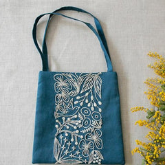 Piece - Birds and Flowers Small Bag Kit Blue & Ecru (PHC-083-1)