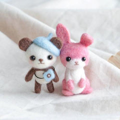 Learn to Felt: Beret Panda and Pink Rabbit