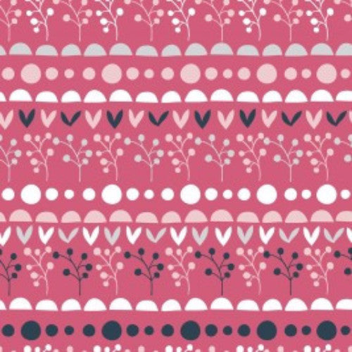 Quirky Florals - Navy Pink Sprig Stripe