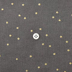 Check & Stripe Star Cotton Linen - Gold on Grayish Brown
