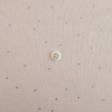Check & Stripe Star Cotton Linen - Silver on Grayish Pink