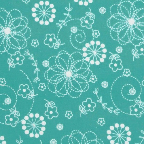 Little One Flannel Too - Teal Doodles (F8229Q)