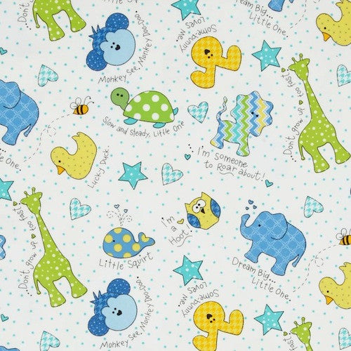 Little One Flannel Too - Tossed Little Ones Blue (F8222 ZB)