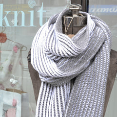 Learn to Knit Two Colour Brioche Scarf