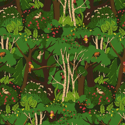 Tiger Lily Collection - Climbing Trees (green)
