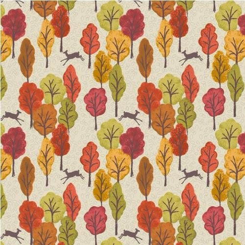 Autumn in Bluebell Wood - Leaping Deer Cream (250-1)