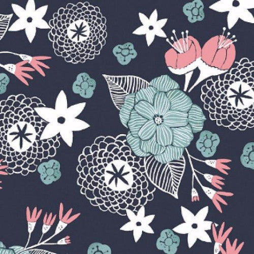 Moon Garden - Night Garden Floral Navy