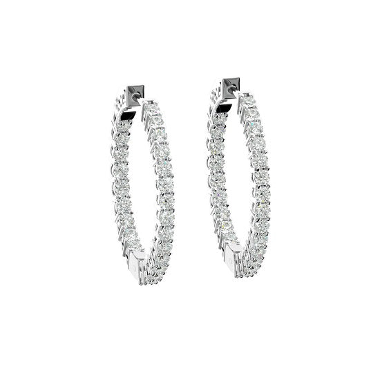 INSIDE OUTSIDE DIAMOND HOOP EARRINGS (FG SI 1.5 Ct. Wt)