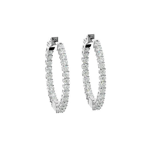 INSIDE OUTSIDE DIAMOND HOOP EARRINGS (FG SI 1 Ct. Wt)