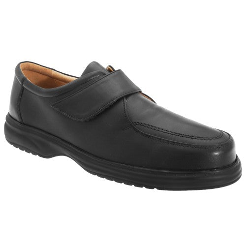 Front - Roamers Superlite - Chaussures de ville larges en cuir avec sangle à scratch - Homme