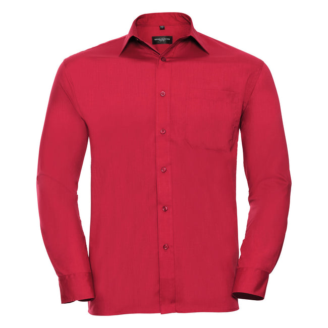 Rouge - Back - Chemise à manches longues en popeline Russell Collection pour homme
