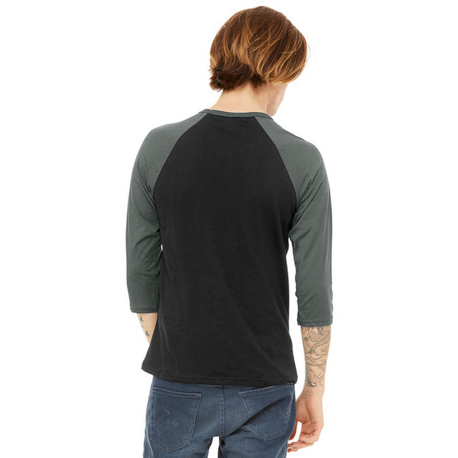 Noir-gris chiné - Back - Canvas - T-shirt de baseball à manches 3-4 - Homme
