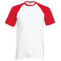 Blanc-Rouge - Back - T-shirt de baseball à manches courtes Fruit Of The Loom pour homme