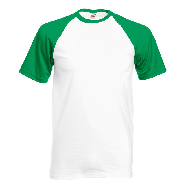 Blanc-Vert - Back - T-shirt de baseball à manches courtes Fruit Of The Loom pour homme