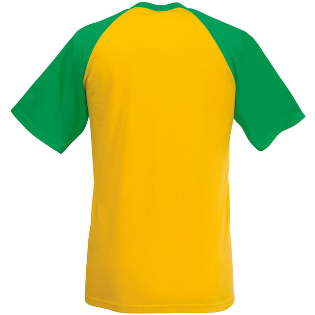 Tournesol-Vert tendre - Back - T-shirt de baseball à manches courtes Fruit Of The Loom pour homme