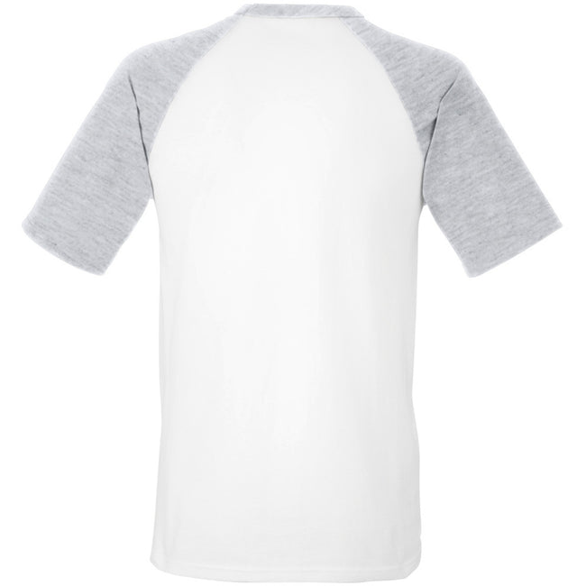 Blanc-Gris - Back - T-shirt de baseball à manches courtes Fruit Of The Loom pour homme