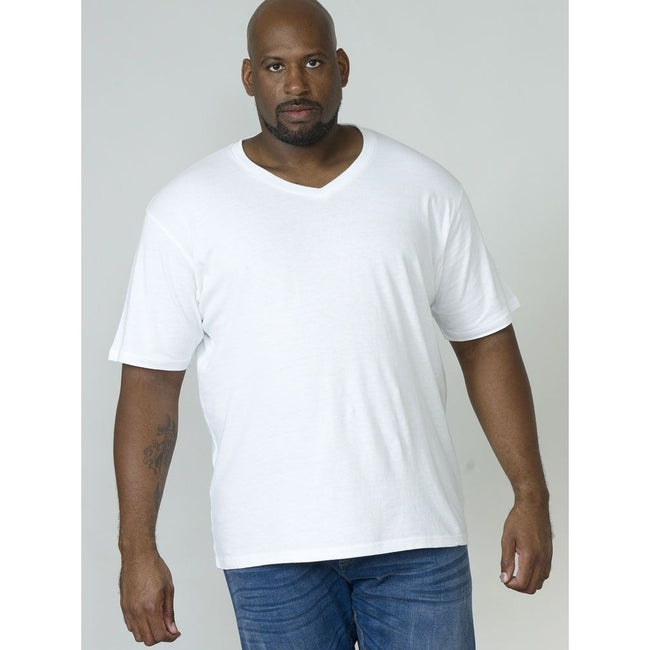 Blanc - Back - Duke D555 Kingsize Signature - T-shirt en coton - Homme