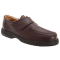 Marron - Front - Roamers Superlite - Chaussures de ville larges en cuir avec sangle à scratch - Homme