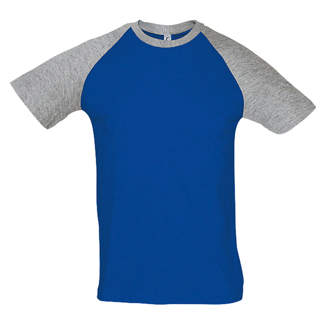 Blanc-bleu marine - Back - SOLS - T-shirt manches courtes FUNKY - Homme