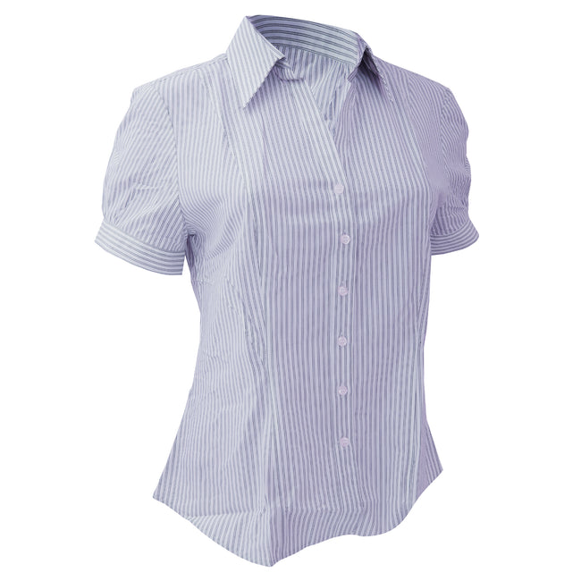 Bleu-Rayures blanches - Front - Brook Taverner - Chemisier à manches courtes - Femme