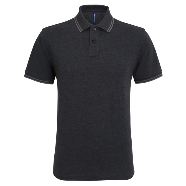 Noir chiné-gris - Front - Asquith & Fox - Polo - Homme