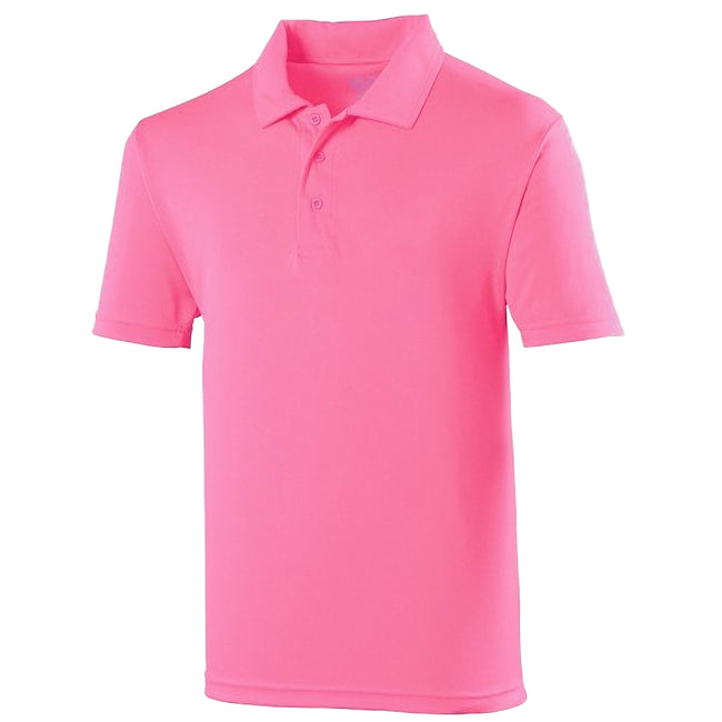 Rose électrique - Front - Just Cool - Polo de sport  uni - Homme