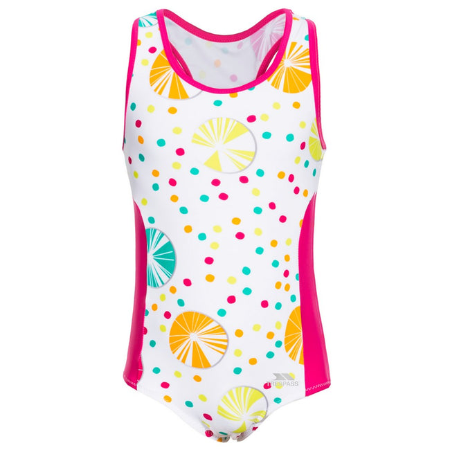 Rose-jaune-blanc - Front - Trespass - Maillot de bain WAKELY - Fille