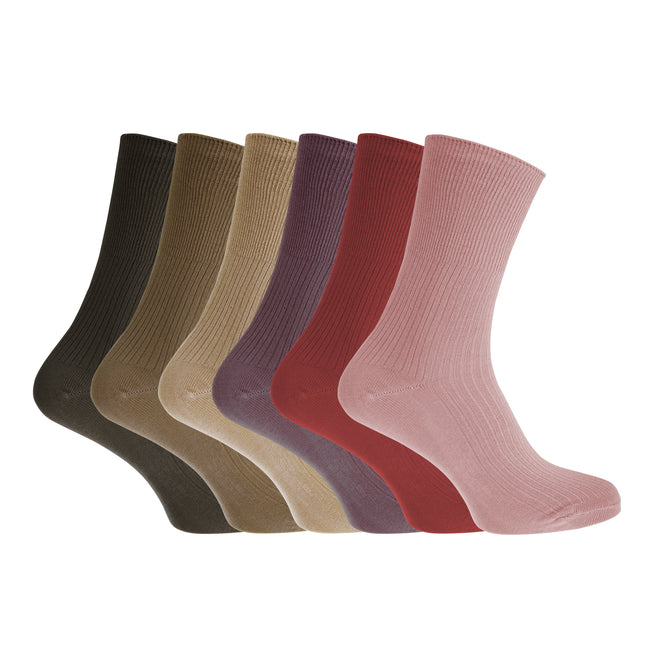 Assortiment marron - Front - Healthy - Chaussettes en coton (Lot de 6 paires) - Femme