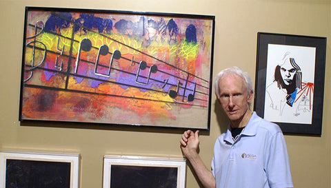 "Robby Krieger with Painting ""Light My Fire"""