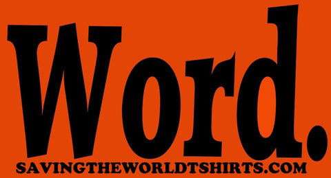word stickers orange