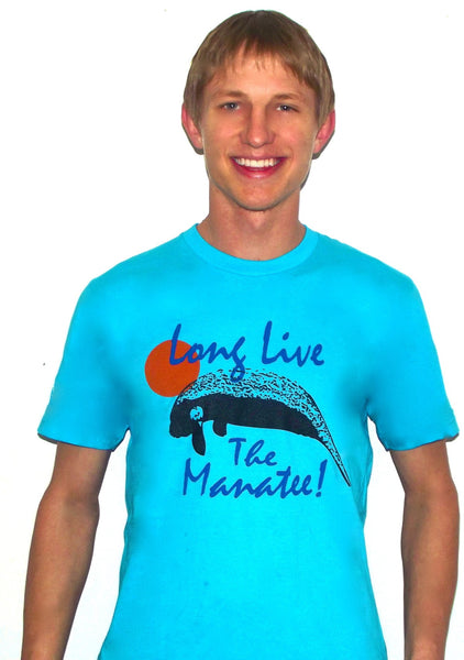 save the manatees tee shirt blue m