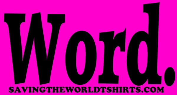word stickers pink