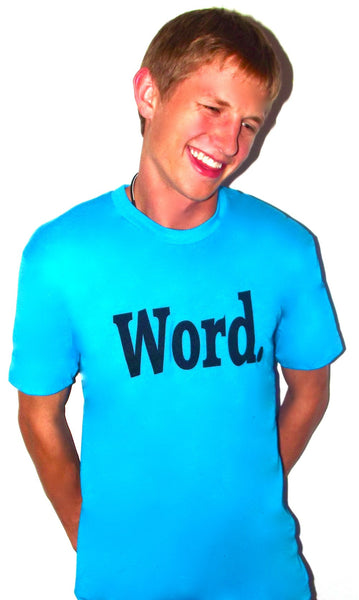 word t shirt blue