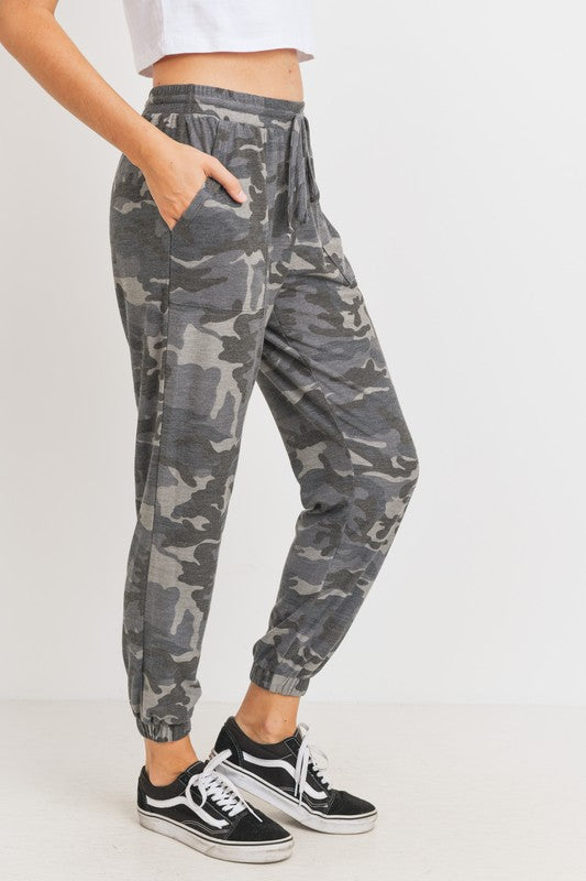 Grey Print French Terry Pocket Knit Joggers