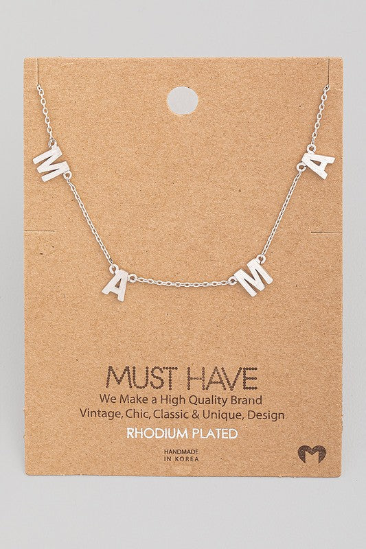 Dainty Silver Mama Station Charm Necklaces