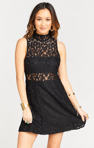 Show Me Your MuMu Alexa Dress - Fleur De Lis Lace Black